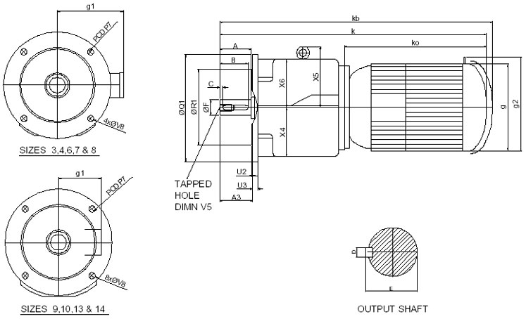 Electric Motor D Flange Dimensions