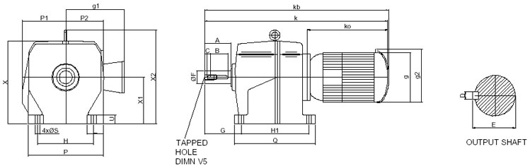 Dimension of AM Series Inline Helical Geared Motor-Double reduction ...